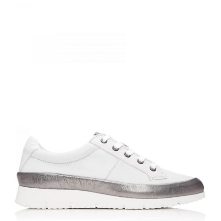 All Trainers | Moda in Pelle Womens Sh Alexis White – Pewter Leather Alexis