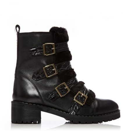 Ankle Boots | Moda in Pelle Womens Channie Black Leather Black