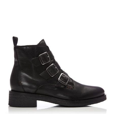 Ankle Boots | Moda in Pelle Womens Sh Strapp Black Leather Strapp