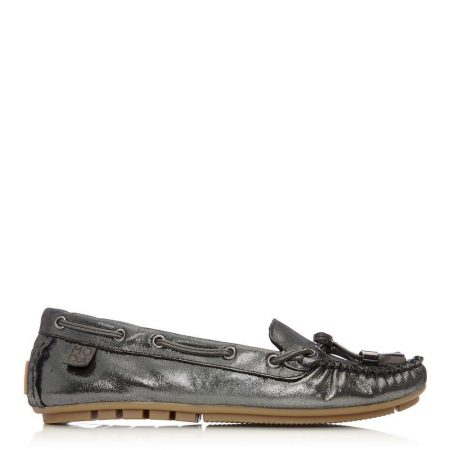 Brogues And Loafers | Moda in Pelle Womens Amusement Pewter Leather Pewter