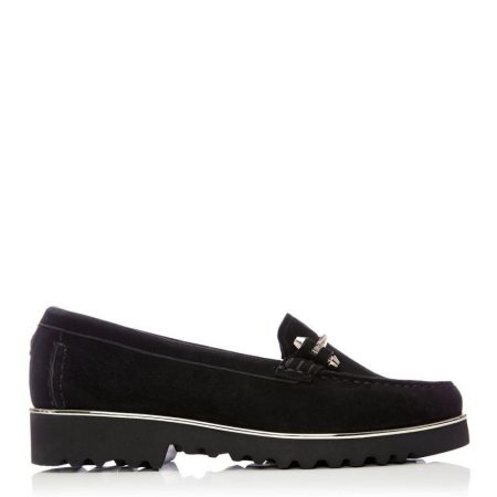 Brogues And Loafers | Moda in Pelle Womens Aretina Black Suede Black