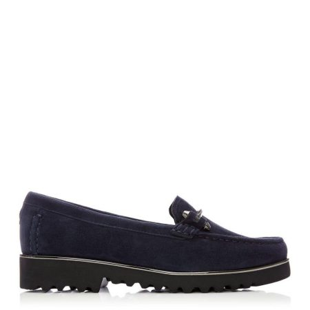 Brogues And Loafers | Moda in Pelle Womens Aretina Navy Suede Navy