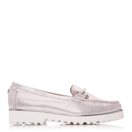Brogues And Loafers | Moda in Pelle Womens Aretina Rose Gold Lizard Rose