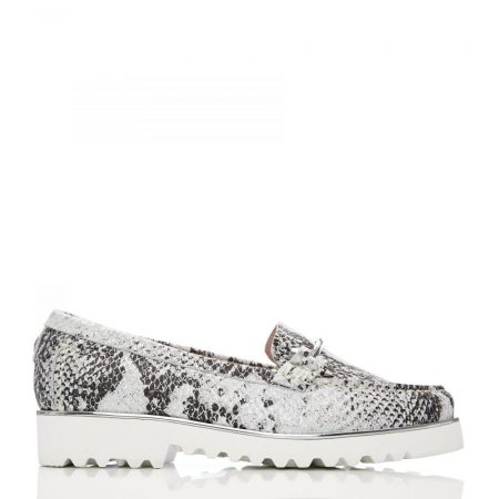 Brogues And Loafers | Moda in Pelle Womens Aretina White – Silver Snake Print White