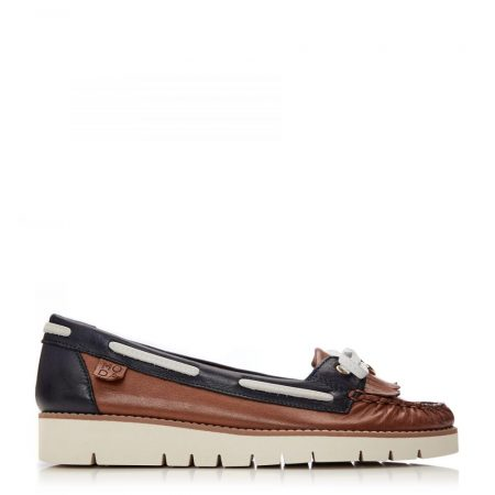 Brogues And Loafers | Moda in Pelle Womens Axella Navy-Tan Leather Navy-Tan