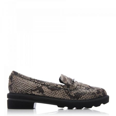 Brogues And Loafers | Moda in Pelle Womens Edeena Natural Snake Print Natural
