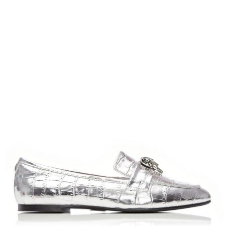 Brogues And Loafers | Moda in Pelle Womens Eleni Silver Leather Silver