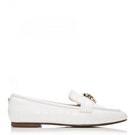 Brogues And Loafers | Moda in Pelle Womens Eleni White Croc White