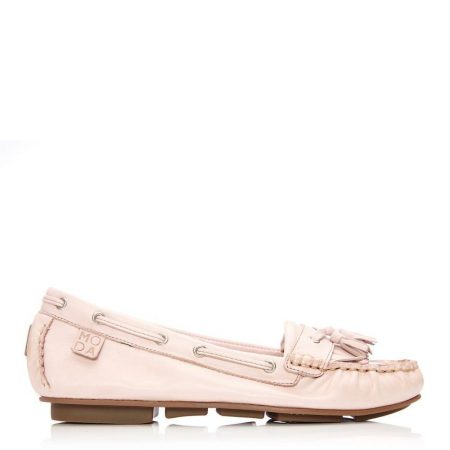 Brogues And Loafers | Moda in Pelle Womens Errin Light Pink Leather Light