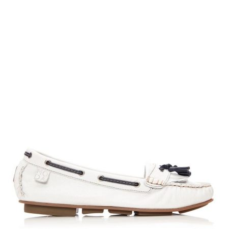 Brogues And Loafers | Moda in Pelle Womens Errin White Leather White