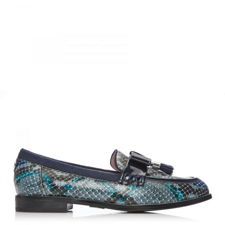 Brogues And Loafers | Moda in Pelle Womens Estella Blue – Snake Snake Print Blue