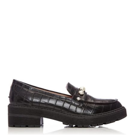 Brogues And Loafers | Moda in Pelle Womens Eugenie Black Porvair Black