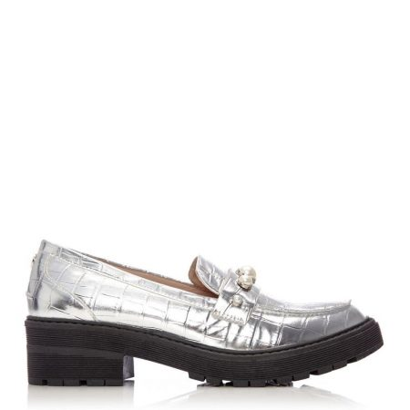 Brogues And Loafers | Moda in Pelle Womens Eugenie Silver Porvair Silver