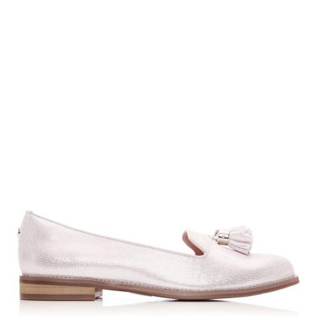 Brogues And Loafers | Moda in Pelle Womens Exie Rose Gold Metallic Lizard Effect Leather Rose
