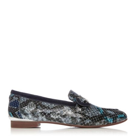 Brogues And Loafers | Moda in Pelle Womens Fina Blue Snake Print Blue