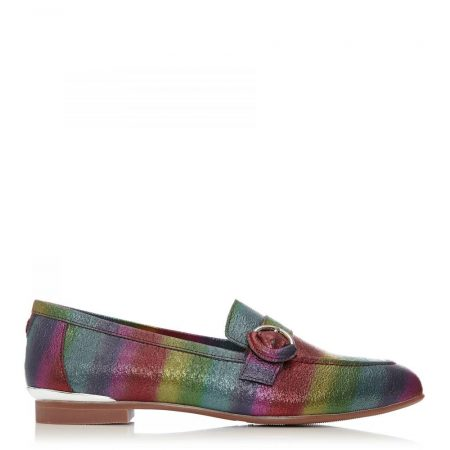Brogues And Loafers | Moda in Pelle Womens Fina Rainbow Metallic Leather Rainbow