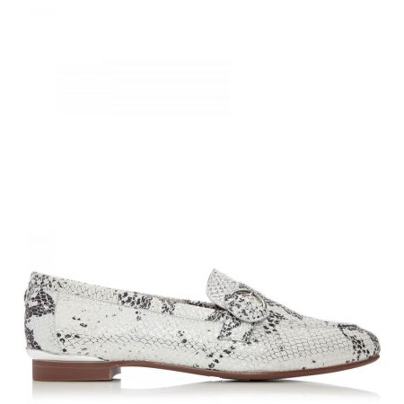 Brogues And Loafers | Moda in Pelle Womens Fina White – Silver Snake Print White