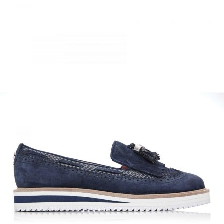 Brogues And Loafers | Moda in Pelle Womens Frizzle Navy Suede Navy