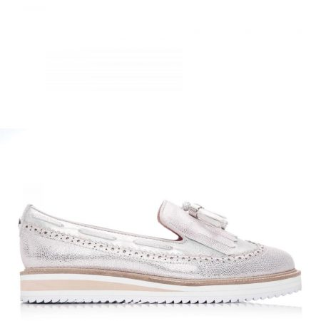 Brogues And Loafers | Moda in Pelle Womens Frizzle Rose Gold Lizard Rose