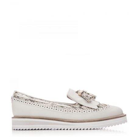 Brogues And Loafers | Moda in Pelle Womens Frizzle White-Gold Leather White-Gold