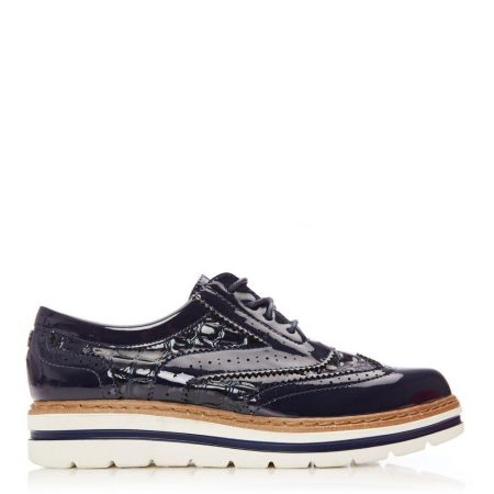 Brogues And Loafers | Moda in Pelle Womens Gennisiss Navy Patent Navy