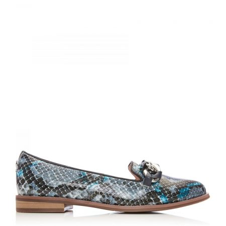 Brogues And Loafers | Moda in Pelle Womens Welony Blue – Snake Snake Print Blue
