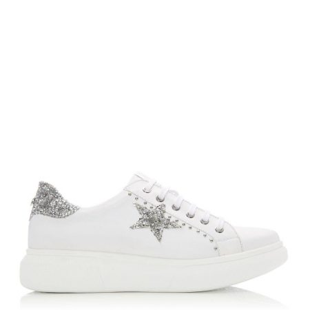 Casual Shoes And Trainers | Moda in Pelle Womens Aaliyah White – Silver Leather White