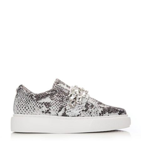 Casual Shoes And Trainers   Moda in Pelle Womens Abelina White – Silver Snake Print White