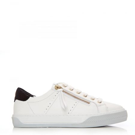 Casual Shoes And Trainers   Moda in Pelle Womens Abronna White Black Leather White