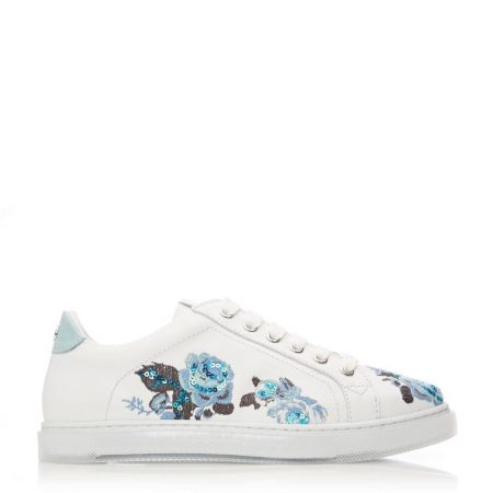 Casual Shoes And Trainers   Moda in Pelle Womens Aflower White Blue Leather White