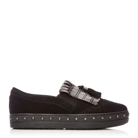 Casual Shoes And Trainers | Moda in Pelle Womens Alondra Black Suede Black