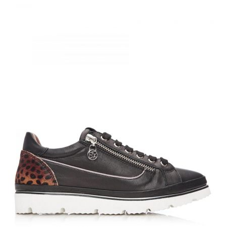 Casual Shoes And Trainers | Moda in Pelle Womens Ariela Black – Mini Leopard Leather Black