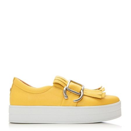 Casual Shoes And Trainers | Moda in Pelle Womens Arlenne Yellow Leather Yellow
