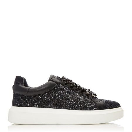 Casual Shoes And Trainers   Moda in Pelle Womens Averie Black Glitter Black