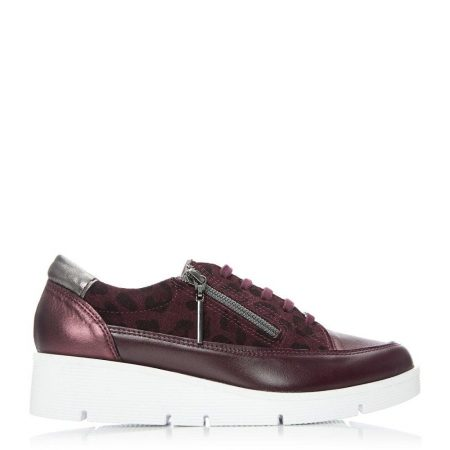 Casual Shoes And Trainers | Moda in Pelle Womens Beena Burgundy – Leopard Leather Burgundy