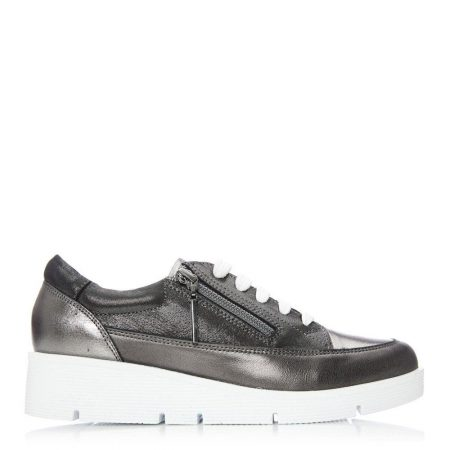 Casual Shoes And Trainers | Moda in Pelle Womens Beena Pewter Leather Pewter