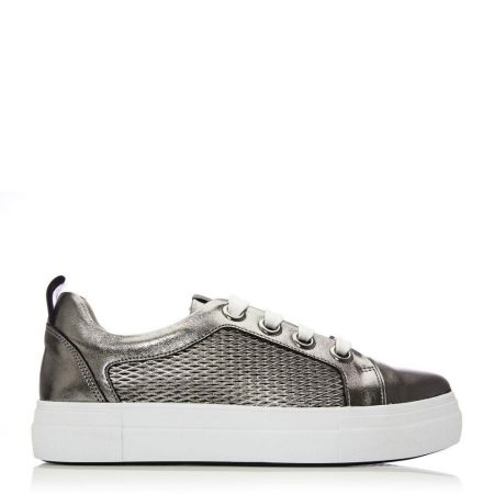 Casual Shoes And Trainers | Moda in Pelle Womens Berrino Pewter Leather Pewter