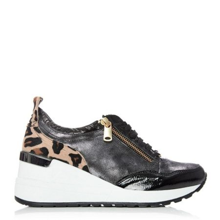 Casual Shoes And Trainers | Moda in Pelle Womens Bethina Black – Leopard Patent Leather Black