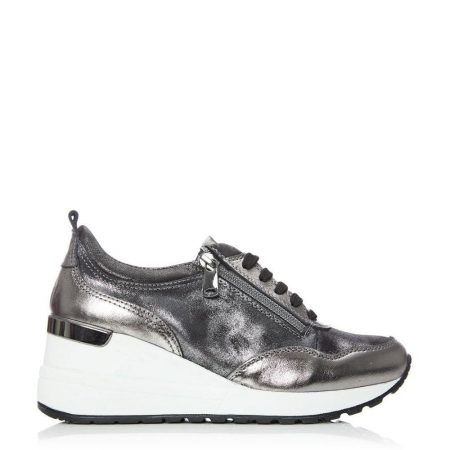 Casual Shoes And Trainers | Moda in Pelle Womens Bethina Pewter Leather Pewter