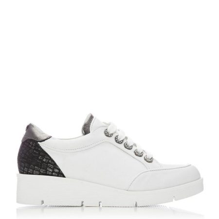 Casual Shoes And Trainers   Moda in Pelle Womens Birrin White – Pewter Leather White