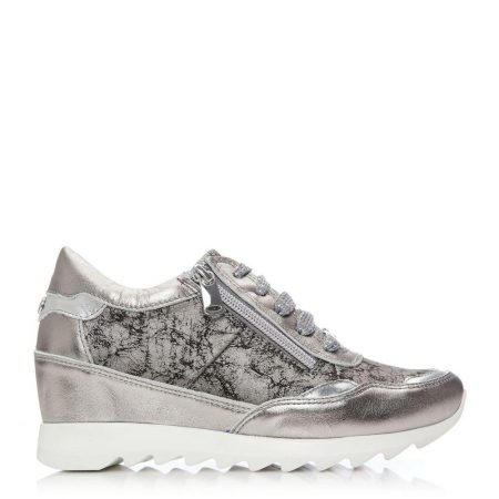 Casual Shoes And Trainers | Moda in Pelle Womens Blossome Pewter Metallic Leather Pewter