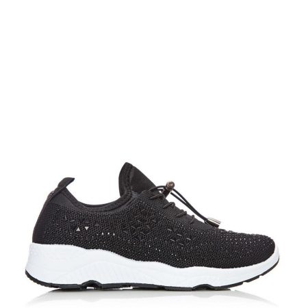 Casual Shoes And Trainers   Moda in Pelle Womens Borena Black Fabric Black