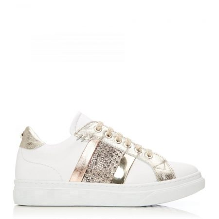Casual Shoes And Trainers   Moda in Pelle Womens Bowe White-Gold Leather White-Gold