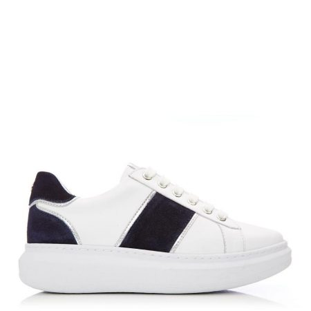 Casual Shoes And Trainers | Moda in Pelle Womens Bralla White-Navy Leather White-Navy