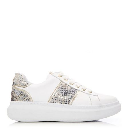Casual Shoes And Trainers   Moda in Pelle Womens Bralla White – Snake Leather White