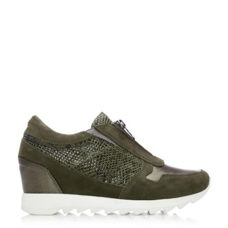 Casual Shoes And Trainers | Moda in Pelle Womens Brayden Khaki Leather Khaki