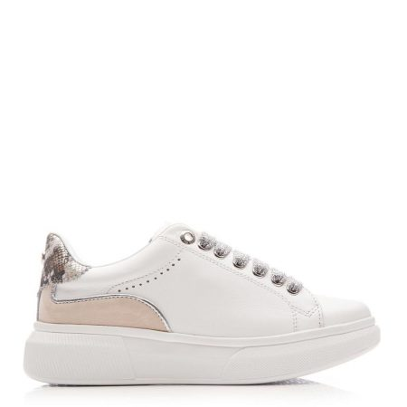 Casual Shoes And Trainers | Moda in Pelle Womens Britia White – Silver Leather White