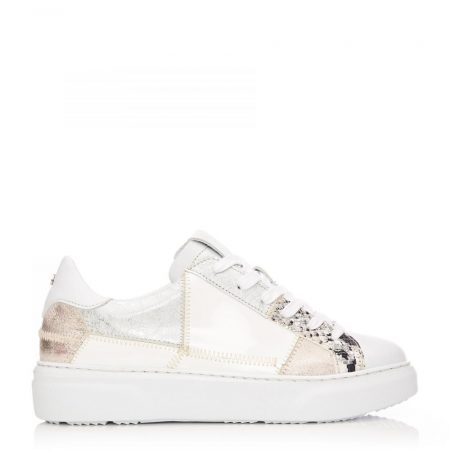 Casual Shoes And Trainers   Moda in Pelle Womens Brylonia White – Silver Snake Print White