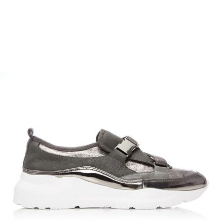 Casual Shoes And Trainers | Moda in Pelle Womens Brynna Pewter Metallic Leather Pewter