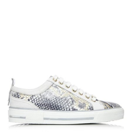 Casual Shoes And Trainers | Moda in Pelle Womens Fizette White-Gold Snake Print White-Gold